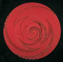 Chinese Red And Copper Handmade African Zulu Telephone Wire Basket/platter Large