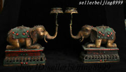 10andrdquo Tibet Buddhism Copper Red Coral Turquoise Elephant Candle Holder Candlestick