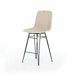 18 W Set Of 2 Lenor Outdoor Swivel Counter Chair Modern Rope Iron Base