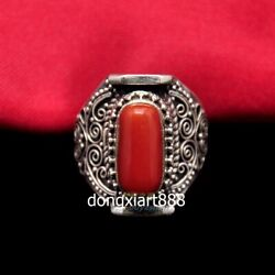 Tibet Pure Silver Wire Inlay Inlay Coral Jewelry Flexible Caliber Finger Ring