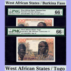 West African States Togo And Burkina Faso 1965 100 Francs Both Pmg Unc 66