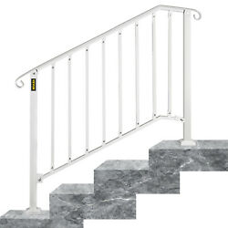Wrought Iron Handrail Picket Fits 3 or 4 Steps Stair Railing for Outdoor Steps