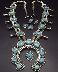 Vintage Navajo Sterling Silver Turquoise Squash Blossom Necklace And Earrings Set