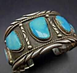 Raymond Yazzie Vintage Navajo Sterling Silver And Turquoise Cuff Bracelet 87.4g