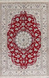 Decorative Floral Nain Oriental Area Rug Hand-knotted Dining Room Carpet 7and039x10and039