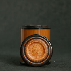 68cm Chinese Old Moso Bamboo Hand Carving Zhong Kui God Cover Small Tea Caddy