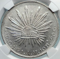 1891 Cn Am Mexico Big Silver 8 Reales Antique Mexican Coin Eagle Ngc Ms I81887
