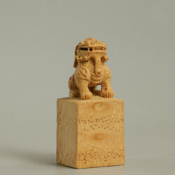 Chinese Old Moso Bamboo Root Hand Carving Pixiu Unicorn Beast Lion Seal Signet