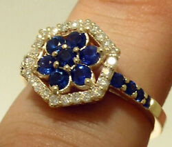 R113 Genuine 9k10k 18k Gold Natural Sapphire And Diamond Cluster Engagement Ring