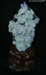 8 100 A Class Jadeite Emerald Jade Carved Feng Shui Dragon Loong Beast Statue