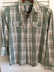 Buffalo David Bitton Western Long Sleeve Green Black Plaid Shirt Sz Medium M