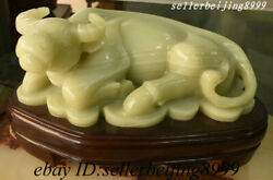 China Natural Afghan Jade Carved 12 Zodiac Year Animal Ox Bull Oxen Coin Statue