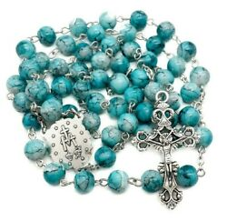 Catholic Turquoise Marble Glass Beads Rosary Necklace Miraculous Medal And Cross