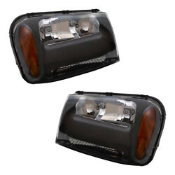 Pair Set Headlights For 06-09 Chevy Trailblazer And 06 Ext W/ 1/2 Width Grille Bar
