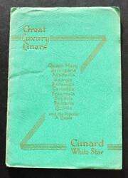 Cunard White Star Line Rms Queen Mary Berengaria Etc Fleet Deluxe Brochure 1935