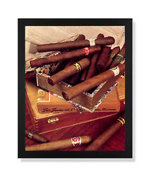 Old Cigar Labels And Box And Cigars Tobacco Wall Picture Black Framed Art Print