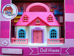 KIDS TOTE ALONG MINI DOLL HOUSESUMMER HOME2 LEVELSW DOLLS amp; ACCESSORIESNEW $14.93