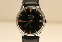 Vintage Menand039s Swiss Mechanical Watch Darwil Special Flat Lux 66/black Dial