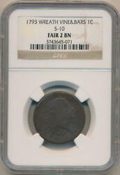 1793 Wreath Vine And Bars Large Cent. S-10. Rare. Ngc Fair 2 Brown