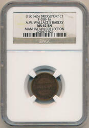 1861-65 Bridgeport Ct A.w. Wallaceand039s Bakery. F-35b-1a Hard Times Token. Ngc Ms62