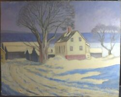 Charles Durant Snowy Landscape With House Oil On Board
