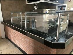 96andrdquo 8andrsquo Ft Pizza Display Case Glass Sneeze Guard Stainless Steel W/ Shelf