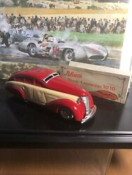 Schuco Germany 1010 Red/tan Wende Limousine Wind-up Tin Toy Car New