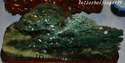 China 100 Natural Dushan Jade Hand-carving Fengshui Pine Mountain Rivers Statue