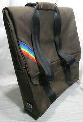 Vintage 1980and039s 3rd Party Apple Ii Ii Brown Cordura Drivers Case W/rainbow Logo
