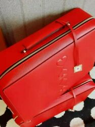 New Estee Lauder Makeup Cosmetic Bag TRAIN CASE Faux Leather RED $14.95
