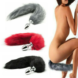 False Fox Tail With Metal Anal-Butt Plug Cosplay Romance Game Funny Toy