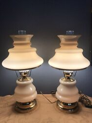 Pair Of Vtge Ethan Allen Hurricane Style Beige Table Lamps Rare