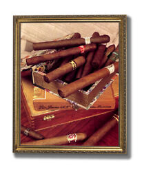 Old Cigar Labels And Box And Cigars Tobacco Wall Picture Gold Framed Art Print