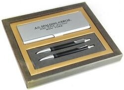A.g.spalding And Bros Black Ballpoint And Mechanical Pencil W/ Case Set
