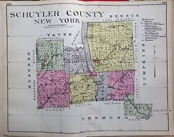 1912 Schuyler County New Century Atlas Map Counties Of The State Of New York