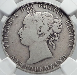 1899 Canada Newfoundland Uk Queen Victoria Genuine Silver 50cent Coin Ngc I81981