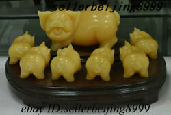 Old China Afghanistan Jade Stone Carving Feng Shui 12 Zodiac Year Pig Set Statue