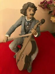 Large Lladro Signed Sanisidro Concert Bass Player 90 Sculpture Retired 1996