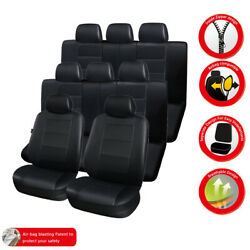 Luxury Leather 3 Row 8 Seat Cover Cushion Protector For Cars Trucks And Suv