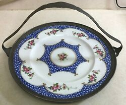 Vintage Shreve And Co Sterling Handled W/ Crescent And Sons China Cake Plate Server