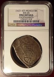 1621-67 Mexico Silver Cob 8 Reale Chopmarked Ngc Certified