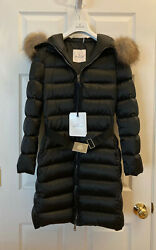 Moncler Tinuviel Shiny Quilted Puffer Coat W/ Fur Hood Size 0 - New