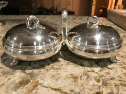 Vintage Connected Twin Silver Plated On Copper Footed, Lided Round Serving Bowls