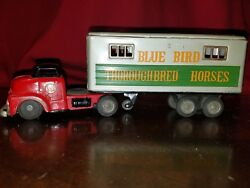 Vintage Made In Japan Tractor And Thorough Bred Horses Trailer Friction Tin Toy
