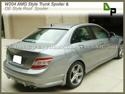 775 Silver Amg Trunk Spoiler And Oe Roof Wing For Benz W204 C250 C300 Sedan 08-14
