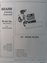 Craftsman Sears 42 Lt Dozer Blade Lawn Tractor Owner And Parts Manual 486.244072