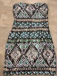 Body Central Sequin Cocktail Cruisewear Strapless Dress size S CUTE