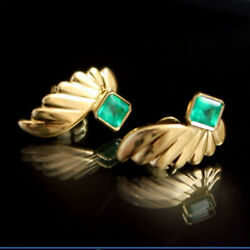 18k Yellow Gold Emerald Earrings | Some Of The Clearest Emeralds We Have Seen