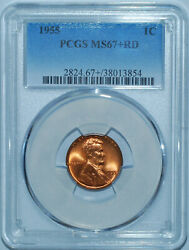 1955 P Pcgs Ms67+rd Red Lincoln Cent Tied For Finest Undervalued Low Population