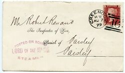 Rare 1879 Cover 1d Rose-red Posted On Board Lord Of The Isles Steamer Cachet